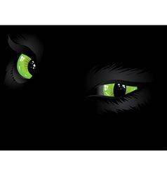 Green cat eyes in the dark vector image