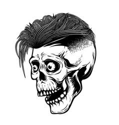 hipster skull isolated on white background design vector image