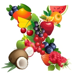 Letter X composed of different fruits with leaves vector image vector image