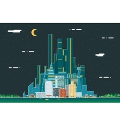 Night Urban Landscape City Real Estate Summer vector image