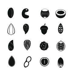 nuts icons set simple style vector image