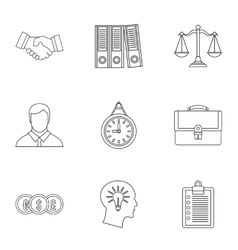 Office icons set outline style vector