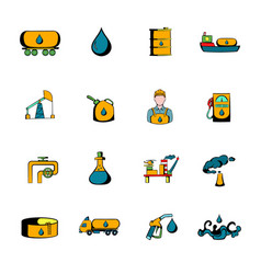 Oil industry icons set cartoon vector