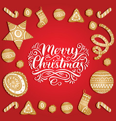 ornate merry christmas lettering with new vector image
