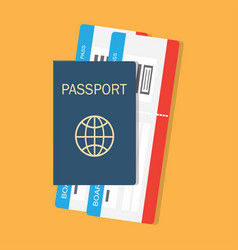 passport with tickets vector image vector image