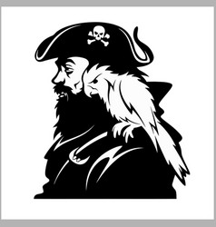 pirate with a parrot on his shoulder vector image vector image