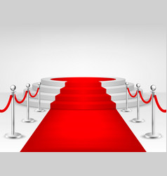 Realistic red event carpet silver barriers vector