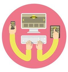 Responsive web design round concept vector