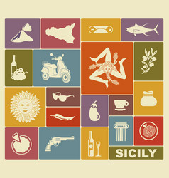 Set of icons on a theme of sicily vector