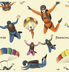 Set of parachuter pattern vector