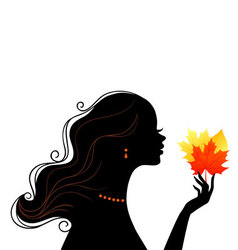Silhouette profile leafs vector image vector image
