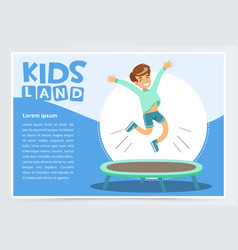 Smiling active boy jumping on trampoline kids vector