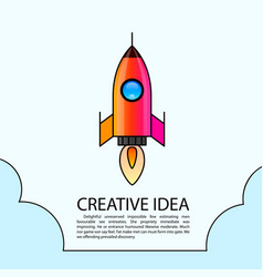 space rocket launch rocket creative startup vector image
