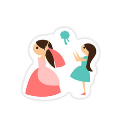 paper sticker on white background bride throws vector image