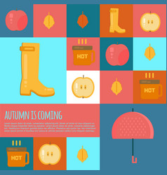 Autumn stuff icons in flat style vector