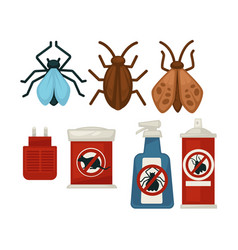 Anti pests warning signs on products and insects vector
