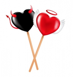 Angel and demon lollipops vector