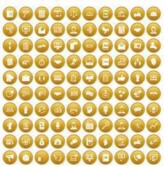 100 dialog icons set gold vector