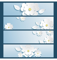 Set of banners blue with 3d flower sakura and leaf vector image