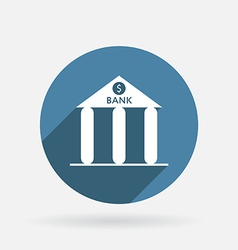 Bank building circle blue icon with shadow vector