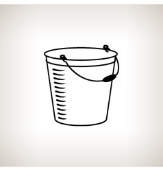 Silhouette bucket on a light background vector image