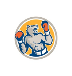 Angry bear boxer gloves circle retro vector