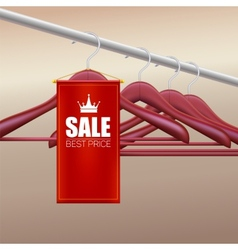 Wooden hangers with advertising label vector
