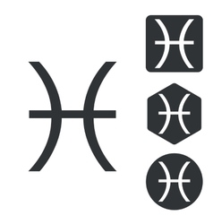 Pisces icon set monochrome vector
