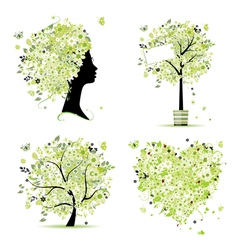 Spring tree frame vector