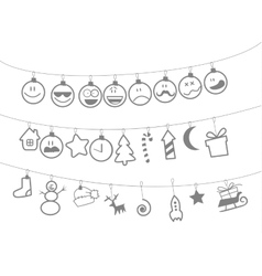Drawn christmas toys that hang on strings vector