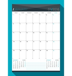 January 2016 design print template monthly vector