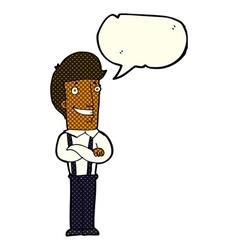 Cartoon proud man with speech bubble vector