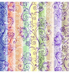 Colorful floral seamless striped pattern vector