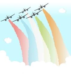 Colourful joy peace plane cloud rainbow design vector
