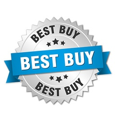 Best buy 3d silver badge with blue ribbon vector