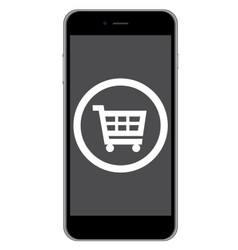 Mobile phone shopping icon vector