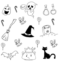 Halloween doodle set candy cat ghost vector image
