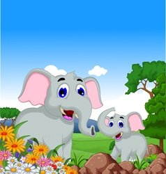 Cute elephant cartoon in the jungle vector