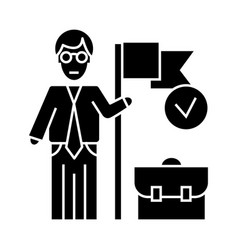accomplished business mission icon vect vector image