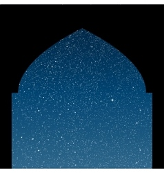 Arabic window starry sky columns eps 10 vector
