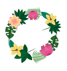 Beautiful wreath flowers leaves tropical exotic vector