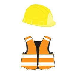 Building helmet and vest vector image vector image
