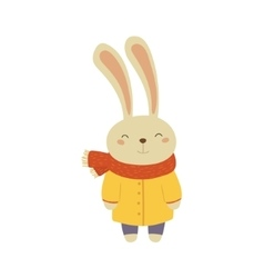 Bunny In Yellow Warm Coat Childish vector image