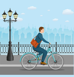 Businessman riding a bicycle vector