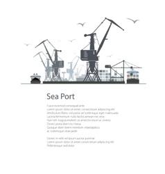 Cargo sea port poster brochure vector