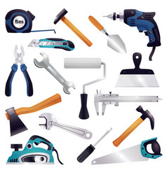 Construction renovation carpentry tools set vector