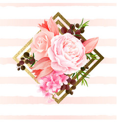 Elegance flowers bouquet of color roses and tulips vector
