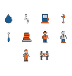 flat color construction icon set vector image vector image