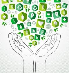 Green splash hands design vector image vector image