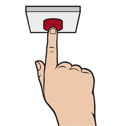 Hand pressing alarm button vector